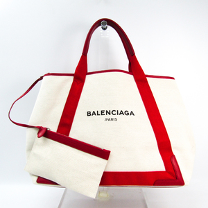 Balenciaga Navy Cabas M 339936 Unisex Canvas,Leather Tote Bag Ivory,Red
