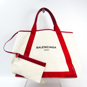 バレンシアガ(Balenciaga) ネイビーカバスM 339936 ユニセックス キャンバス,レザー トートバッグ アイボリー,レッド