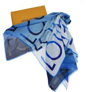 ルイ・ヴィトン(Louis Vuitton) M70907 コットン シルク ショール ブルー