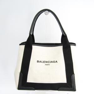 Balenciaga Navy Cabas S 339933 Unisex Canvas,Leather Tote Bag Black,Ivory