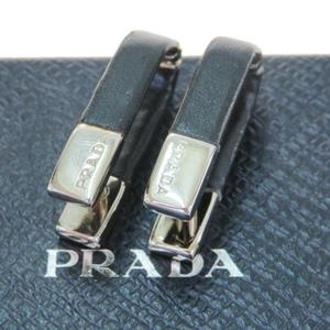 プラダ(Prada) レザー,メタル ドロップピアス ブラック,シルバー