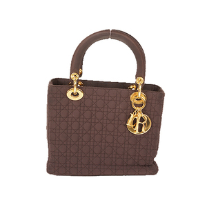 Christian Dior Lady Dior Handbag Women's Cotton Handbag Brown