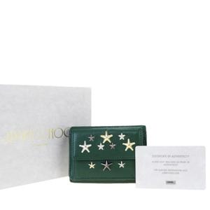 Jimmy Choo Star Studs Leather Wallet (tri-fold) Green