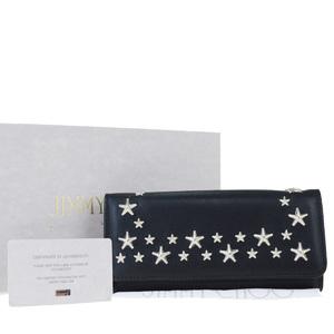 Jimmy Choo Star Studs Leather Long Wallet (bi-fold) Black