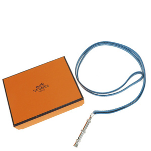 Hermes Shifure Dog Whistle Leather Pendant Necklace (Light Blue)