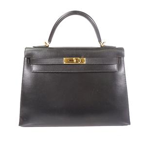 エルメス 2WAYバッグ ケリー32 □E刻 ボックスカーフ ブラック ゴールド金具