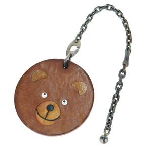 エルメス(Hermes) レザー バッグチャーム ブラウン 動物 アニマル クマ