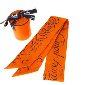 エルメス(Hermes) ツイリー EXERCICE POUR FOUMER LA MAIN 手を差しのべる シルク スカーフ オレンジ
