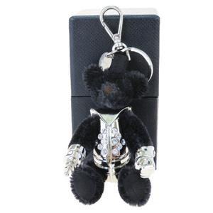 プラダ(Prada) クマ ロボット ラインストーン キーホルダー (ブラック)