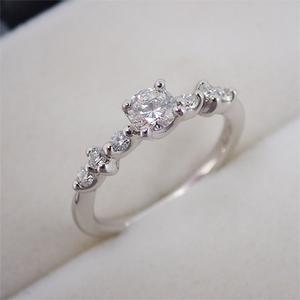リング 指輪 Pt900 プラチナ ダイヤモンド ダイヤ 0.301ct 0.150ct 8.5号
