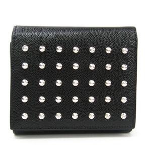 サン・ローラン(Saint Laurent) 365223 ユニセックス  型押しカーフ スタッズ 財布(三つ折り) ブラック