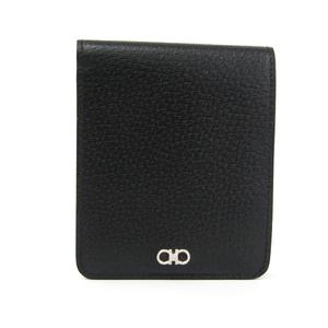 サルヴァトーレ・フェラガモ(Salvatore Ferragamo) ガンチーニ JL66-5571 メンズ  ピッグスキン 財布(二つ折り) ブラック