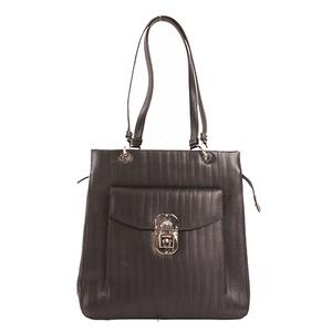 Salvatore Ferragamo Gancini Tote Bag PVC Black