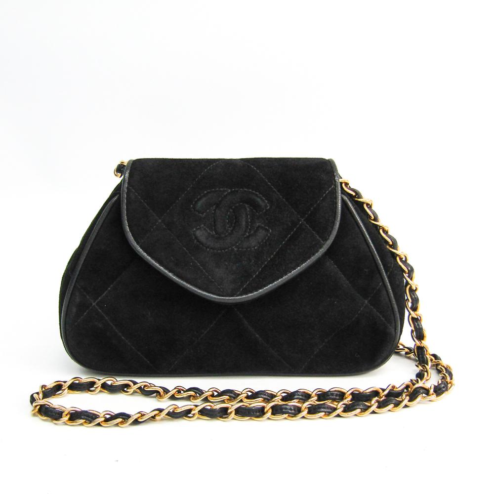 Chanel Women's Suede Shoulder Bag Black