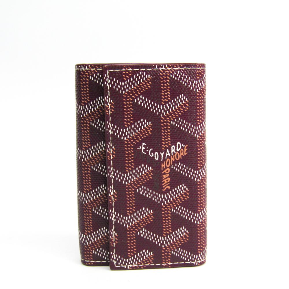 Goyard Unisex Canvas Leather Key Case Bordeaux