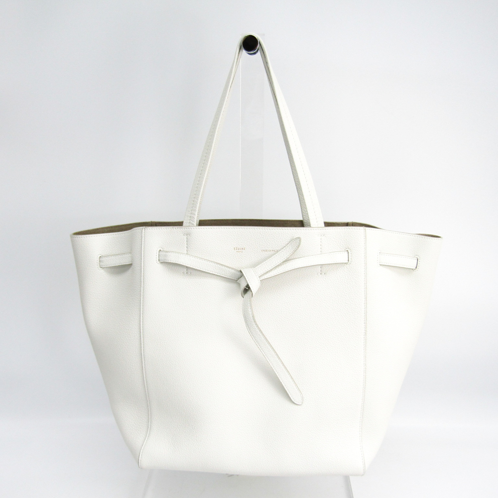 Celine Cabas Phantom Small 176023TNI.01BC Women's Leather Tote Bag White