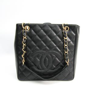 シャネル(Chanel) キャビア・スキン プチ ショッピング トート PST A20994 レディース レザー トートバッグ ブラック