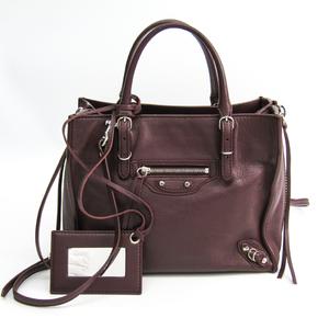Balenciaga Paper Mini A4 357333 Women's Leather Tote Bag Purple Brown