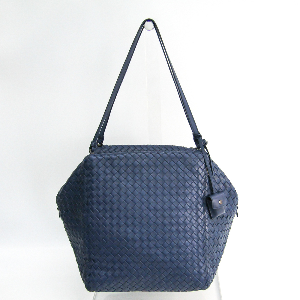 Bottega Veneta Intrecciato 255694 Women's Leather Shoulder Bag Blue