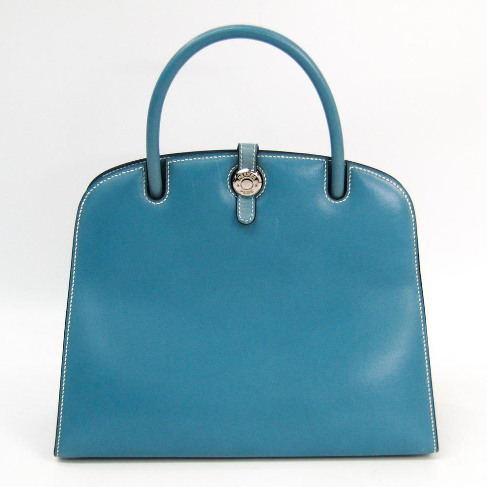 Hermes Dalvy Women's Box Calf Leather Handbag Blue Jean