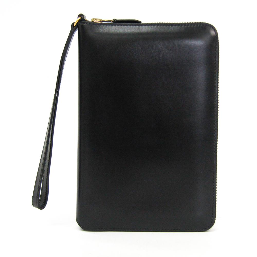 エルメス(Hermes) チャーリー トラベルケース ユニセックス ボックスカーフ 財布 ブラック