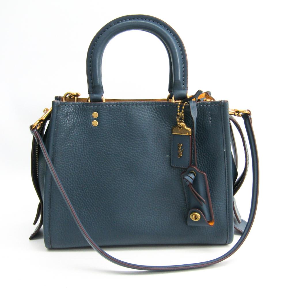 Coach Rogue 25 Grab Tan Pebble Leather 54536 Women's Leather Handbag Navy