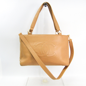 シャネル(Chanel) レディース キャビアスキン ハンドバッグ,ショルダーバッグ ベージュ