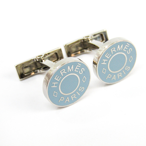 エルメス(Hermes) セリエ エナメル,メタル スウィヴル式 カフス ブルー,シルバー リコル カフス