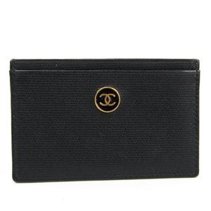 シャネル(Chanel) ココボタン レザー カードケース ブラック