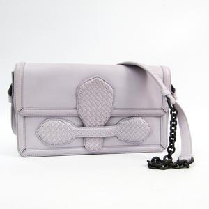 Bottega Veneta Intrecciato Women's Leather Shoulder Bag Light Purple
