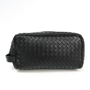 Bottega Veneta Intrecciato 174361 Men's Leather Clutch Bag Black