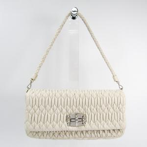 ミュウミュウ(Miu Miu) マトラッセ RP0233 レディース レザー,ラインストーン ハンドバッグ ホワイト