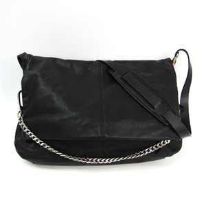 Jimmy Choo Biker Unisex Leather Shoulder Bag Black