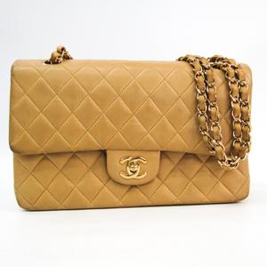 シャネル(Chanel) マトラッセ ダブルフラップ ダブルチェーン レディース レザー ショルダーバッグ ベージュ