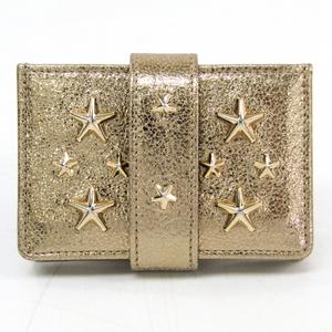 Jimmy Choo Tiggy Leather Card Case Metallic Gold