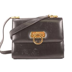 Salvatore Ferragamo Gancini ShoulderBag Women's Leather Pochette,Shoulder Bag Black