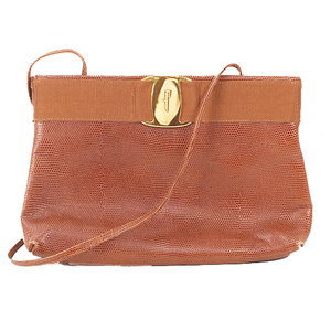 Auth Salvatore Ferragamo Vara Jorda Bag Vala Leather Brown Gold Hardware Women's