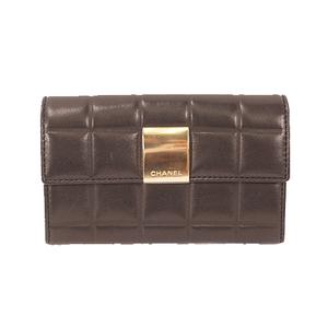 シャネル 二つ折り財布 チョコバー ラムスキン ブラック 7289059