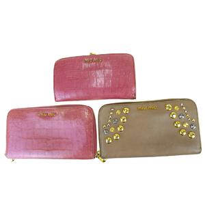 ミュウミュウ(Miu Miu) 3点セット エンボスド,レザー 長財布(二つ折り) ピンク