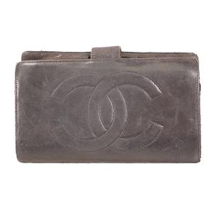 シャネル 二つ折り長財布 レザー ブラック レザー  ブラック