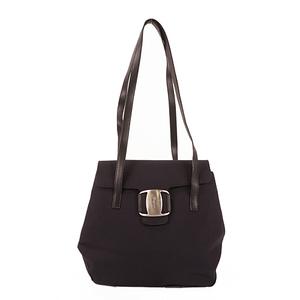 Salvatore Ferragamo Vara Shoulder Bag Women's Canvas Shoulder Bag Black
