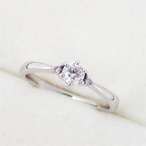 リング 指輪 Pt900 プラチナ  ダイヤモンド0.23ct ピンク ダイヤモンド 0.02ct ダイヤ 10号