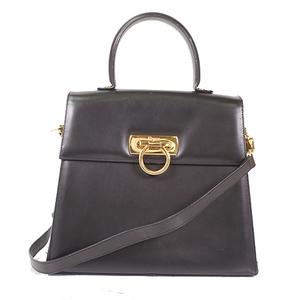 Salvatore Ferragamo Gancini 2way Bag Women's Leather Handbag/Shoulder Bag Black