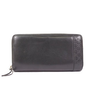 Gucci Guccissima 307993 Men's Leather Long Wallet (bi-fold) Black
