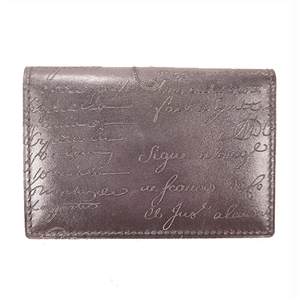 Auth Berluti  Women's Leather Card Wallet Black