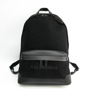 バレンシアガ(Balenciaga) ネイビー バックパック 392007 メンズ レザー,キャンバス リュックサック ブラック