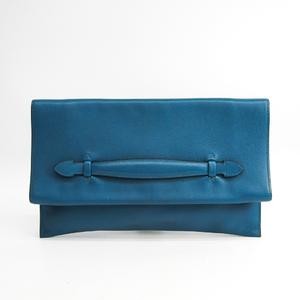 Hermes Prepla 33 Men's Swift Leather Clutch Bag Blue