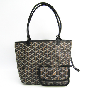 Goyard Saint Louis Junior Women's Leather,Canvas Handbag Black
