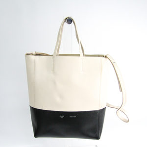 Celine Cabas SMALL VERTICAL 176163 Women's Leather Tote Bag Black,Cream