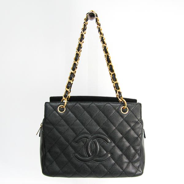 シャネル(Chanel) マトラッセ チェーントート レディース キャビアスキン トートバッグ ブラック
